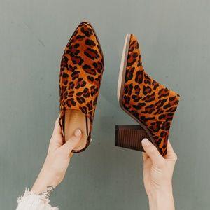 Shoes - LEOPARD MULE HEELS